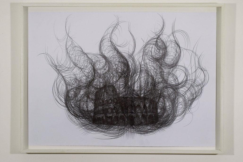 Paolo Canevari, Burning Colosseum, 2007, graphite on paper, 50x70 cm, photo by Humberto Nicoletti Serra