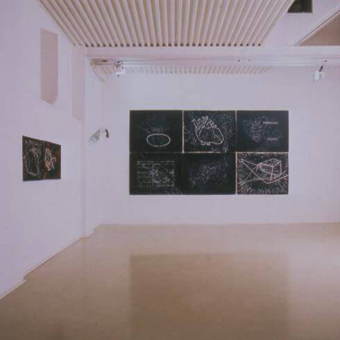 Doris Bloom, William Kentridge, Projected Artists Obiettivo Roma:I/V, Memory and geography 1995, exhibition view