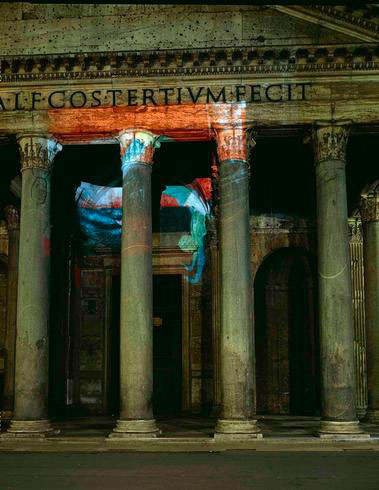 Nancy Spero, Projected Artists Obiettivo: Roma, V/V The Black and The Red, exhibition view