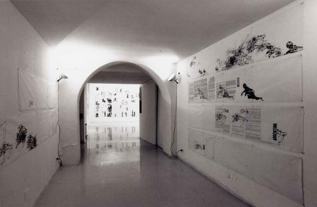 Nancy Spero, Sky goddess egyptian acrobat, 1991, exhibition view
