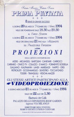 Prima Puntata, 1994, invitation