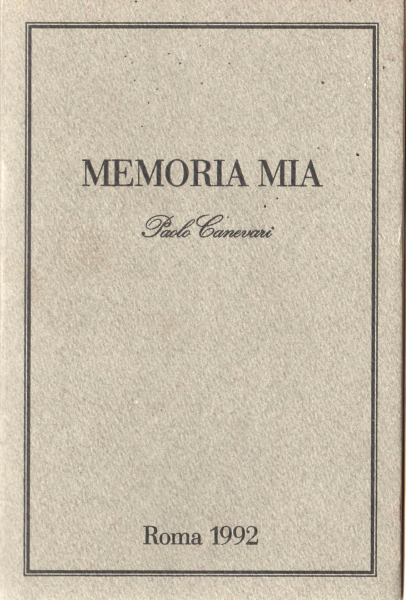 Studio Stefania Miscetti | Catalogues | Paolo Canevari | Memoria mia