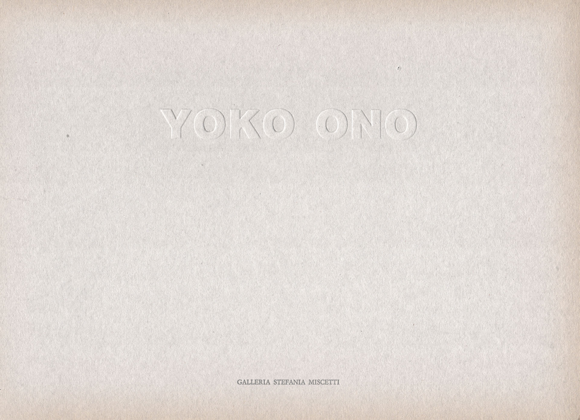 Studio Stefania Miscetti | Catalogues | Yoko Ono | A Piece of Sky